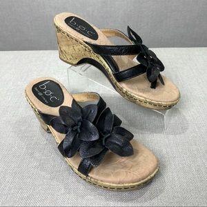 BOC BORN Daly Cork Wedge Floral Flip Flop Sandals